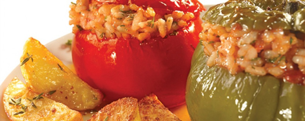 TOMATOES AND PEPPERS STUFFED WITH RICE